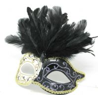 Black and Gold Swirl Feather Mask
